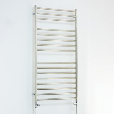 500mm Wide 1200mm High Stainless Steel Polished Heated Flat Towel Rail Radiator Central heating