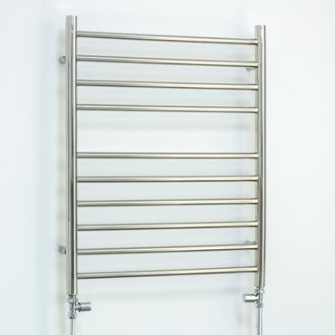 600mm Wide 750mm High Stainless Steel Polished Heated Flat Towel Rail Radiator Central heating