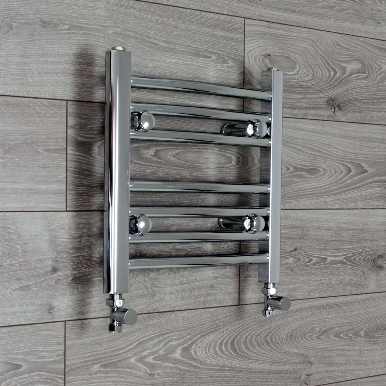 450mm Wide 400mm High Curved Chrome Heated Towel Rail Radiator HTR,With Straight Valve