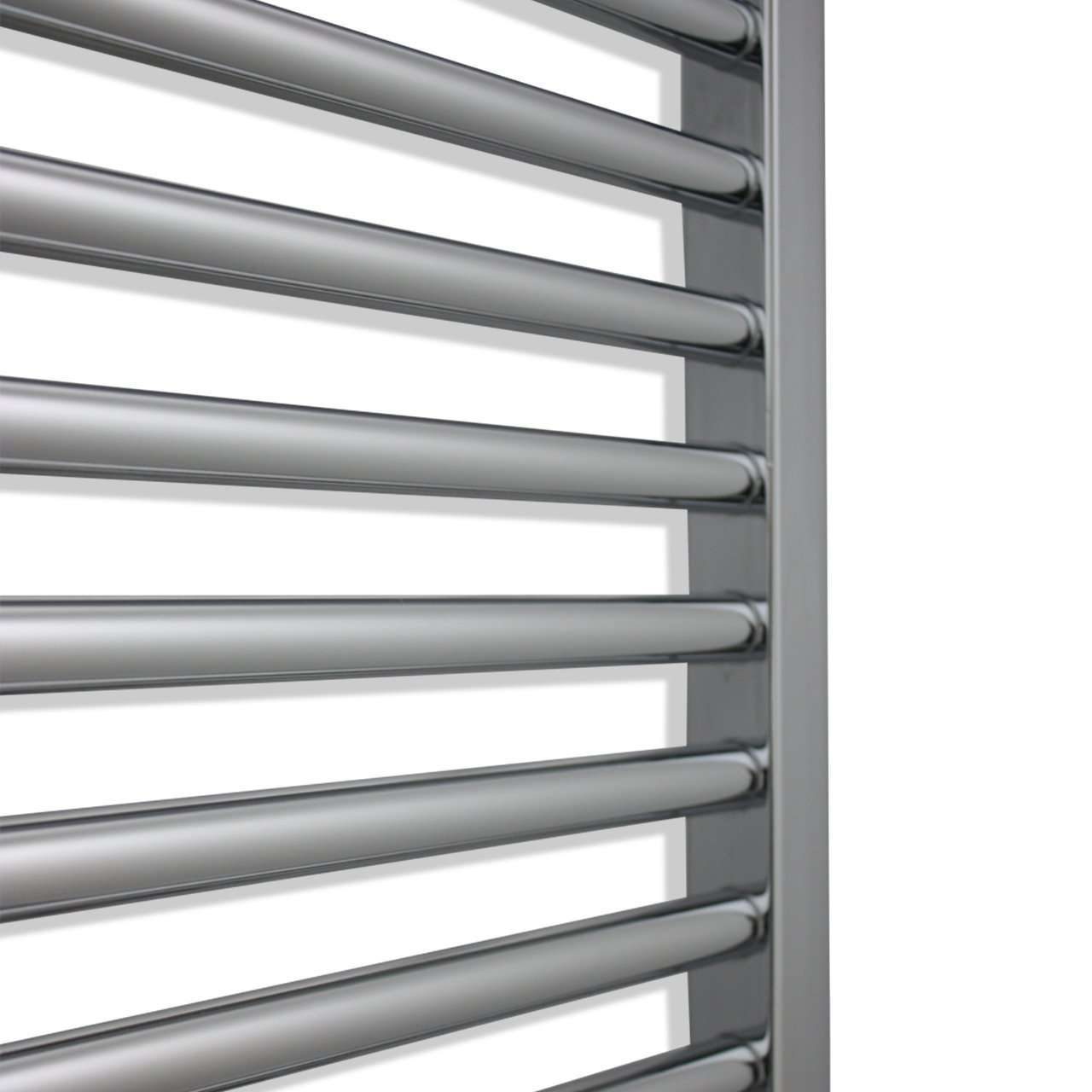 750mm Wide 1400mm High Curved Chrome Heated Towel Rail Radiator HTR