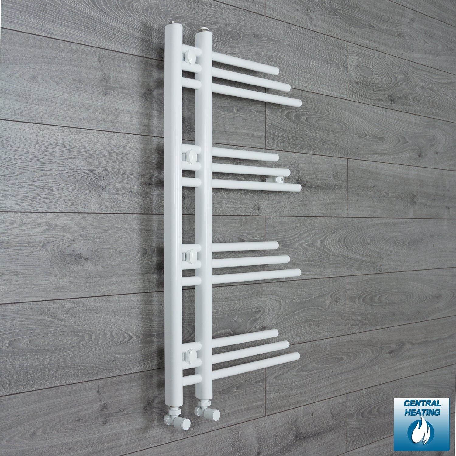 500mm Wide 900mm High Designer Flat White Heated Towel Rail Radiator Gas or Electric,With Angled Valve