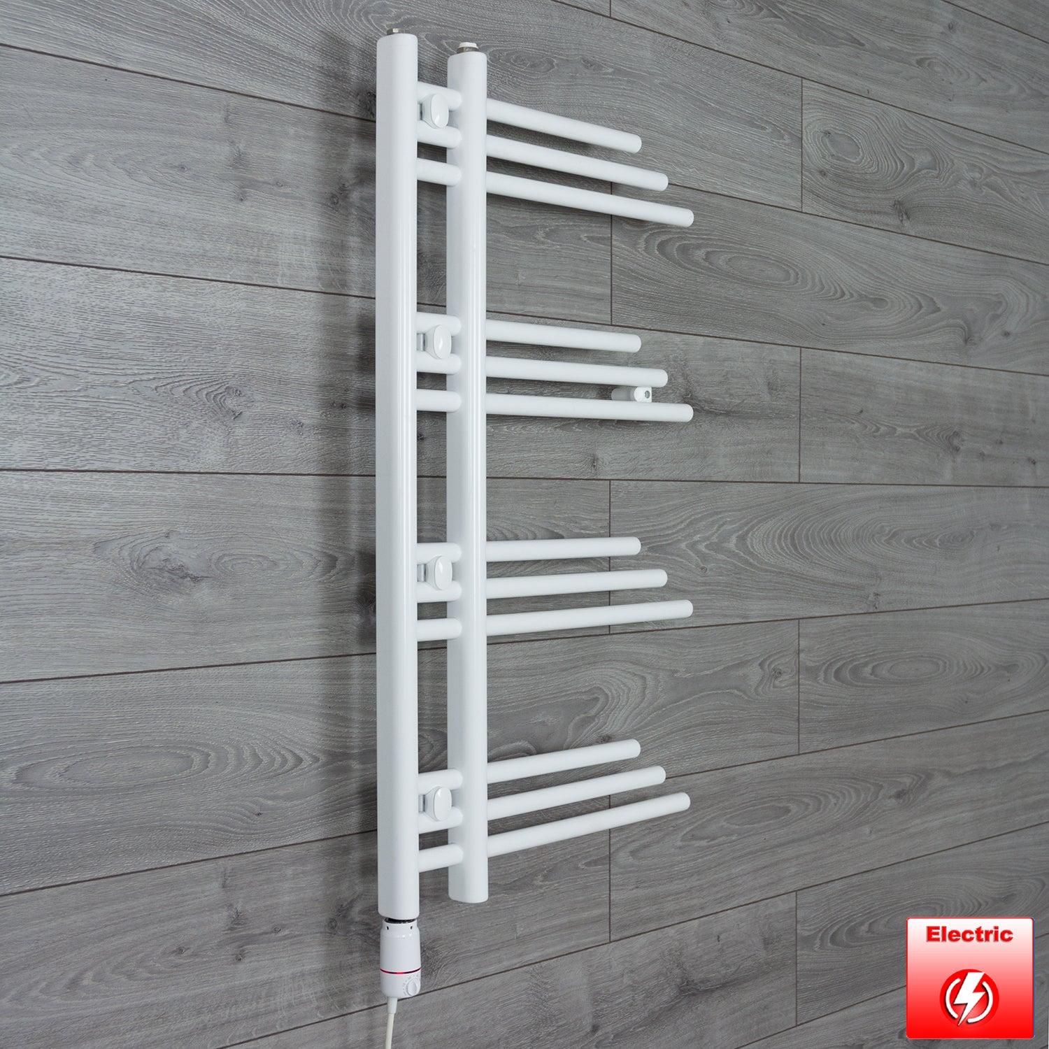500mm Wide 900mm High Designer Flat White Heated Towel Rail Radiator Gas or Electric,Pre-Filled Thermostatic Element