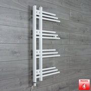 500mm Wide 900mm High Designer Flat White Heated Towel Rail Radiator Gas or Electric,Pre-Filled Single Heat Element