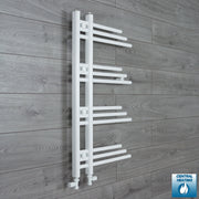500mm Wide 900mm High Designer Flat White Heated Towel Rail Radiator Gas or Electric,With Straight Valve