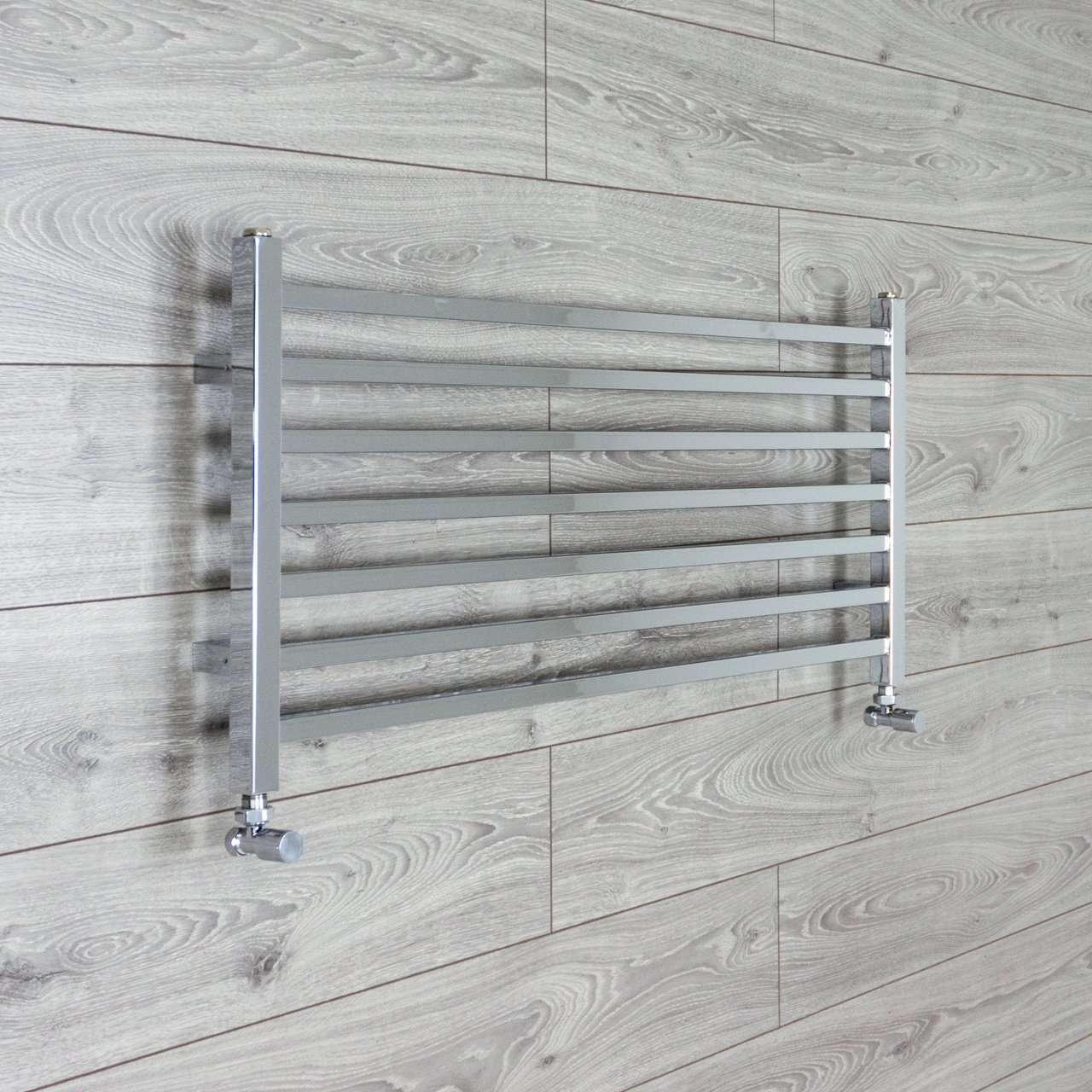 1000mm Wide 450mm High Square Tube Designer Chrome Heated Towel Rail Radiator HTR,With Angled Valve