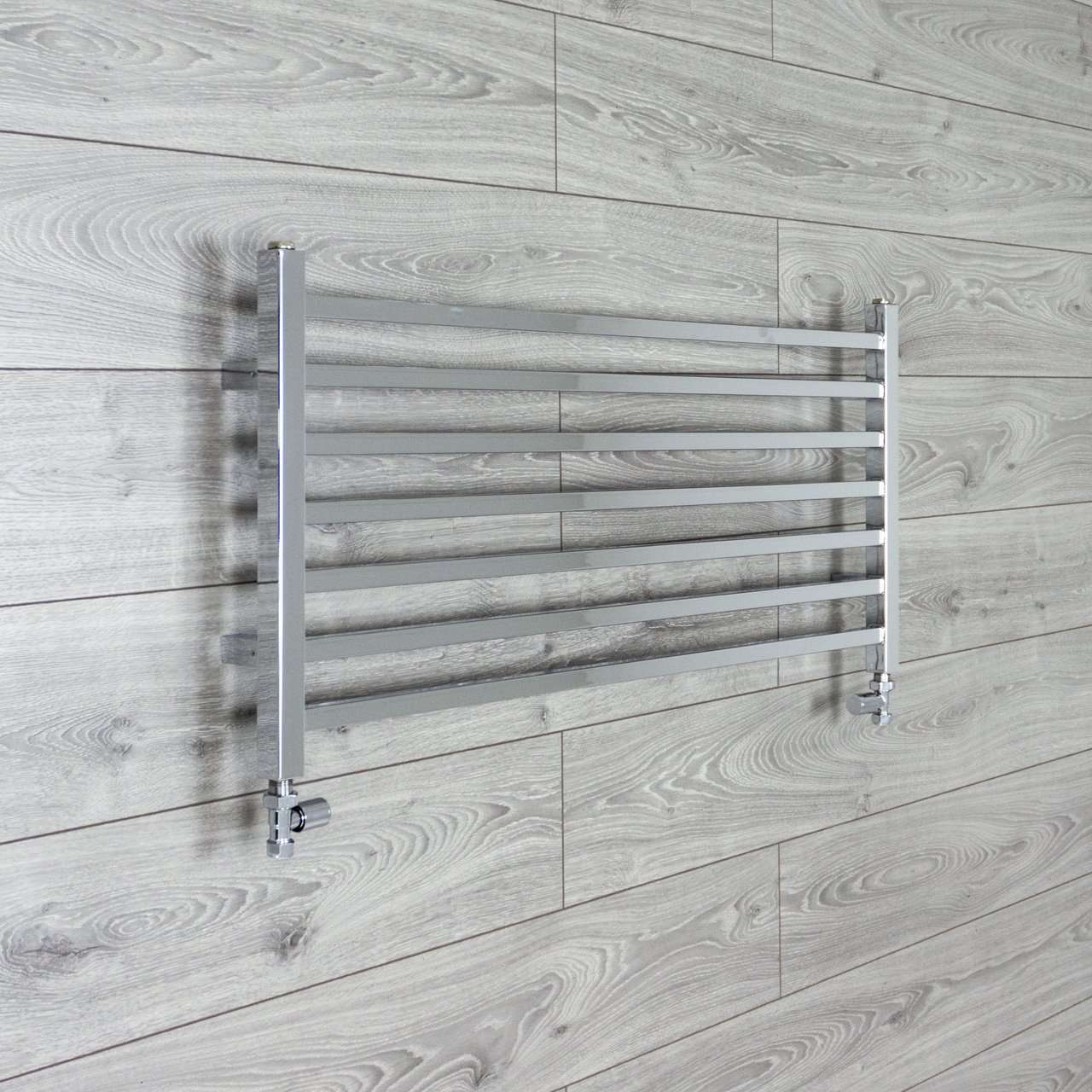 1000mm Wide 450mm High Square Tube Designer Chrome Heated Towel Rail Radiator HTR,With Straight Valve