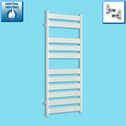 500mm Wide 1200mm High Heated Flat Panel Design Towel Rail Radiator White for Central Heating,With Angled Valve
