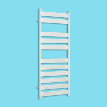 500mm Wide 1200mm High Heated Flat Panel Design Towel Rail Radiator White for Central Heating,With Straight Valve