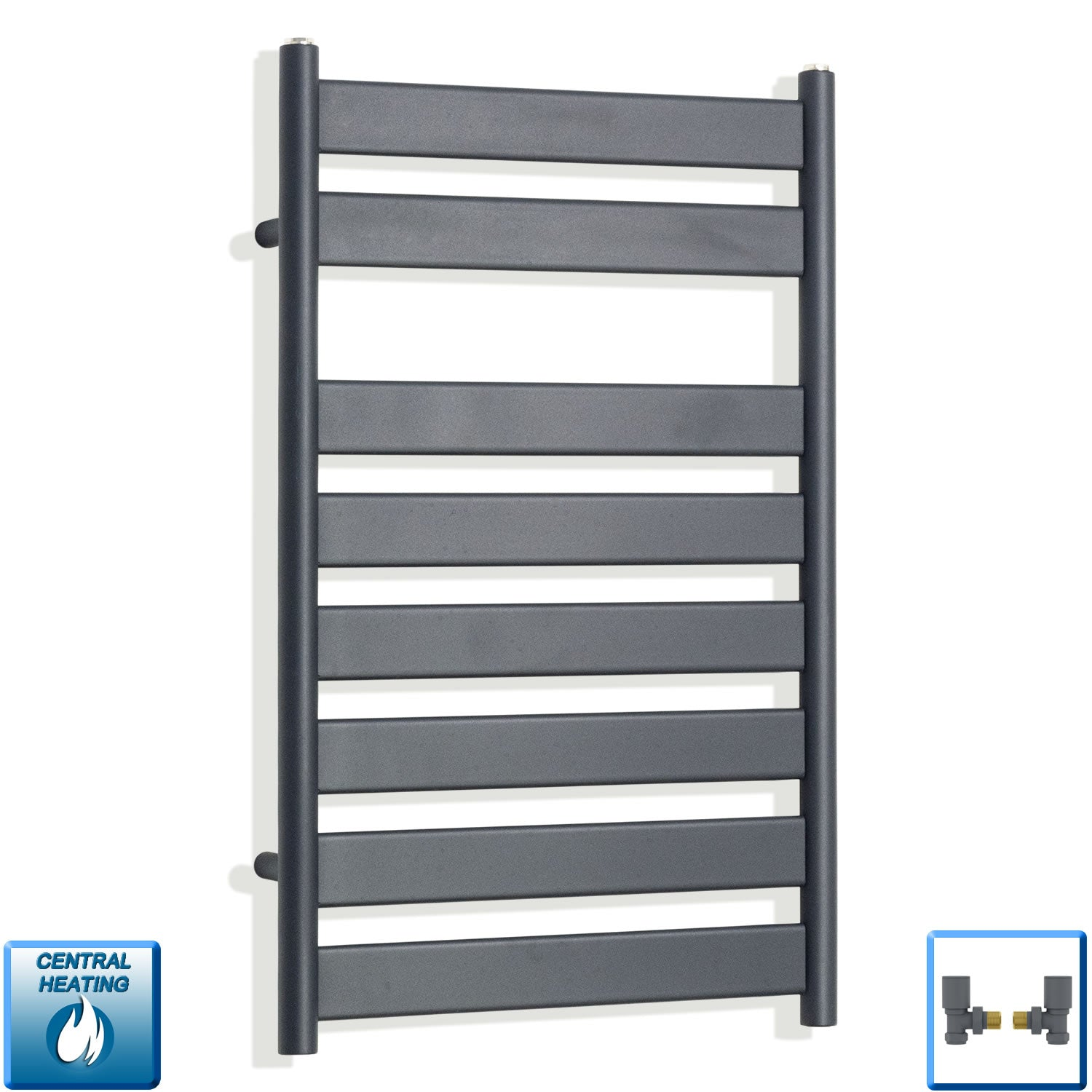 500mm Wide 800mm High Flat Panel Designer Anthracite Heated Towel Rail Radiator HTR,With Angled Valve