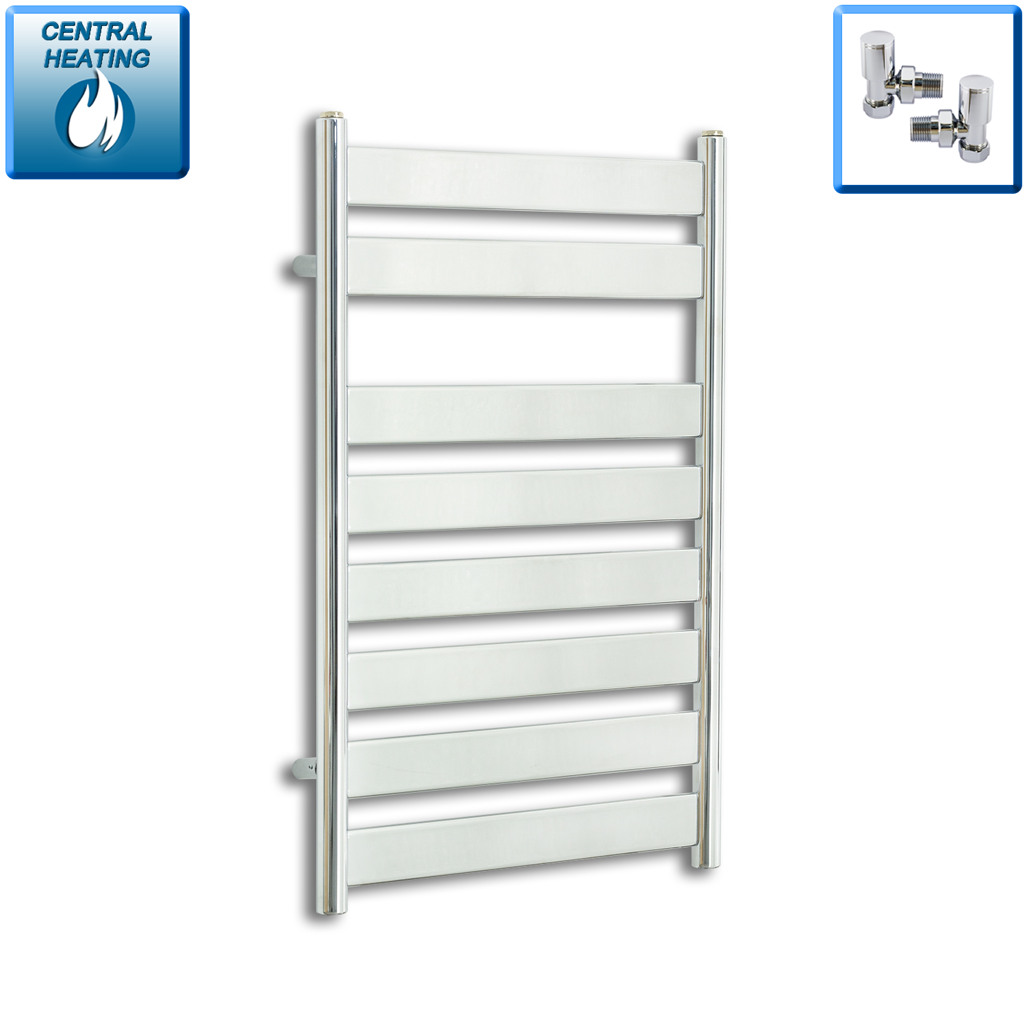 500mm Wide 800mm High Heated Flat Panel Design Towel Rail Radiator Chrome for Central Heating,With Angled Valve