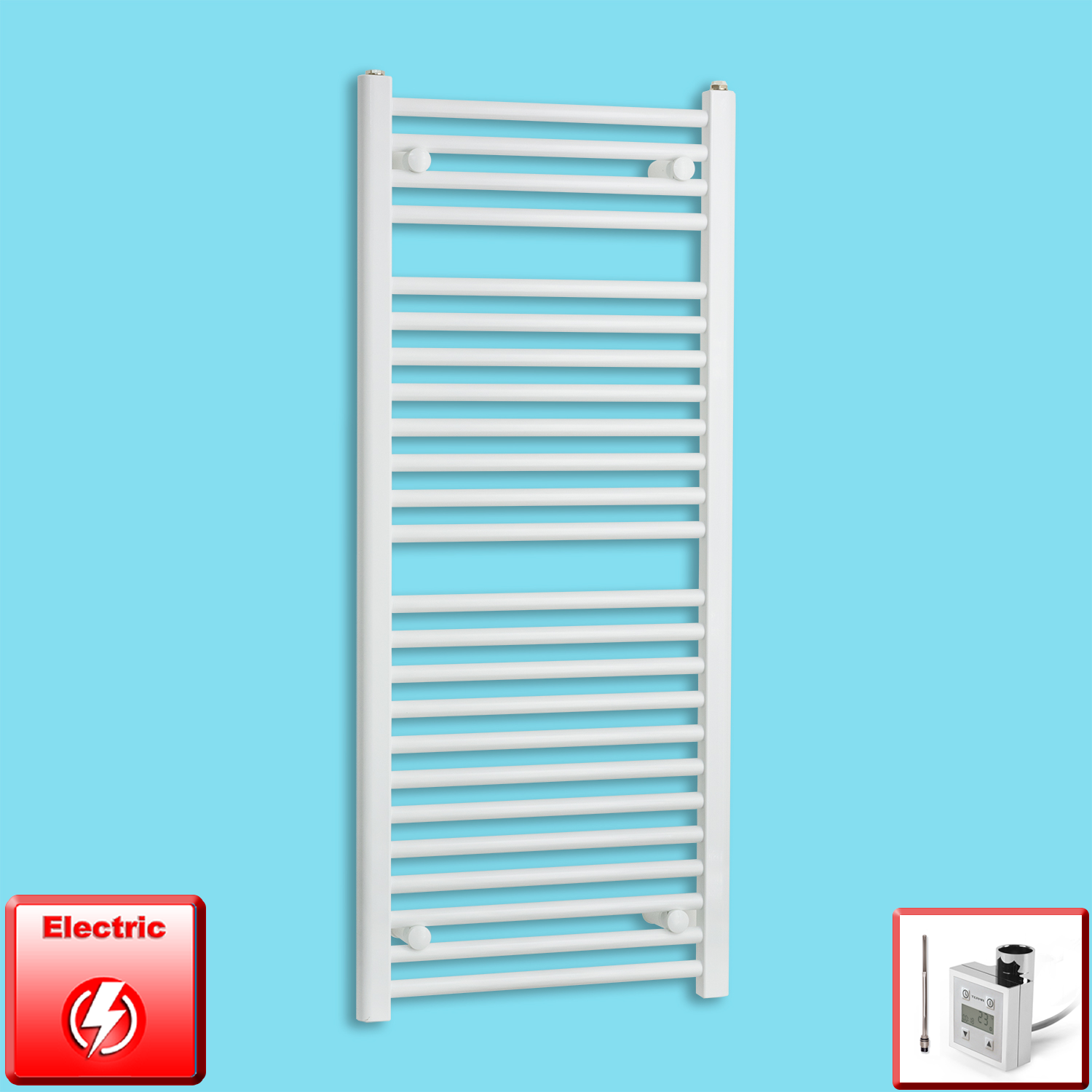 500mm Wide 1200mm High Flat White Pre-Filled Electric Heated Towel Rail Radiator HTR,KTX-3 Thermostatic Element
