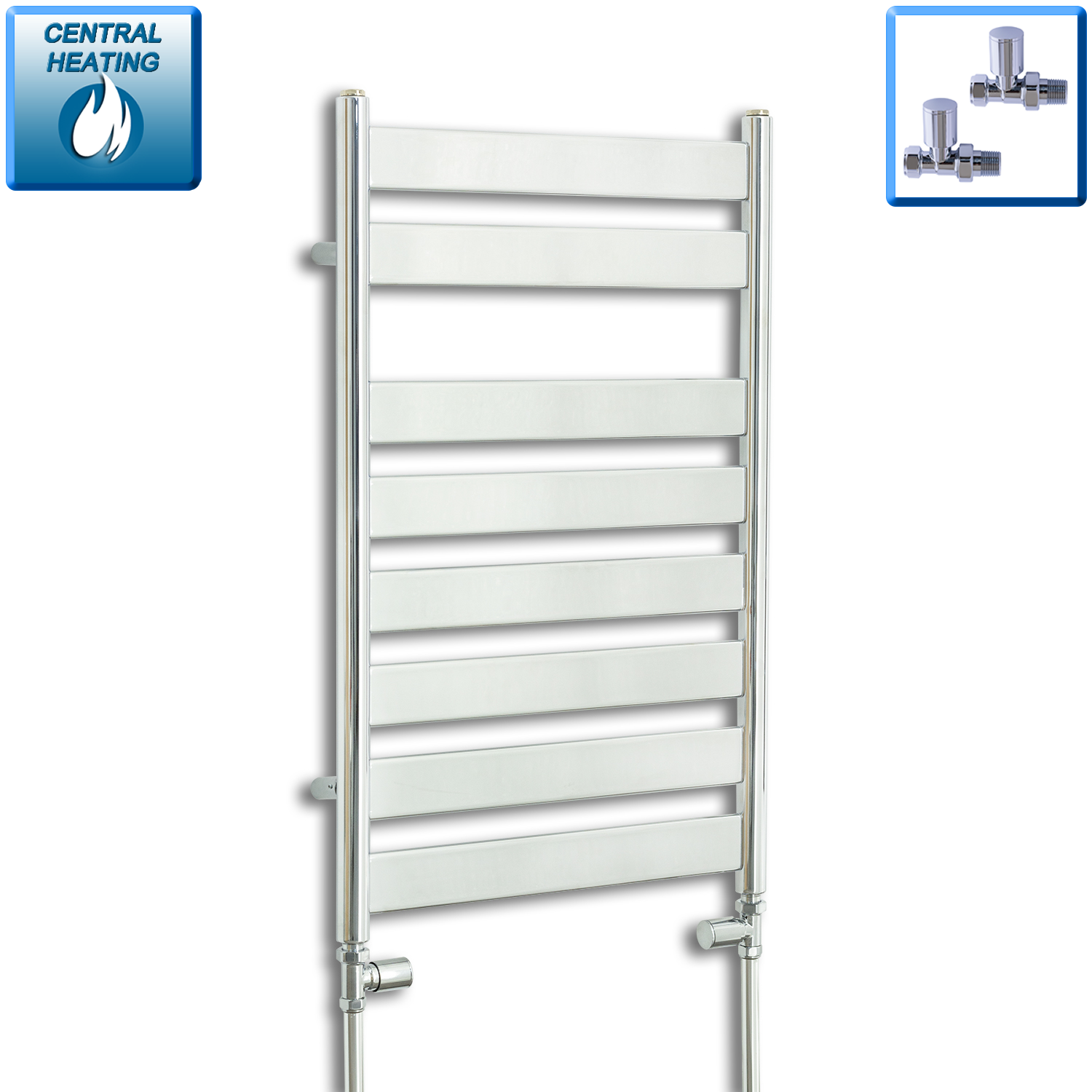500mm Wide 800mm High Heated Flat Panel Design Towel Rail Radiator Chrome for Central Heating,With Straight Valve