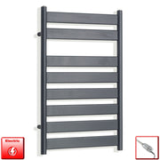 500mm Wide 800mm High Flat Panel Designer Anthracite Heated Towel Rail Radiator HTR,Electric Thermostatic Element