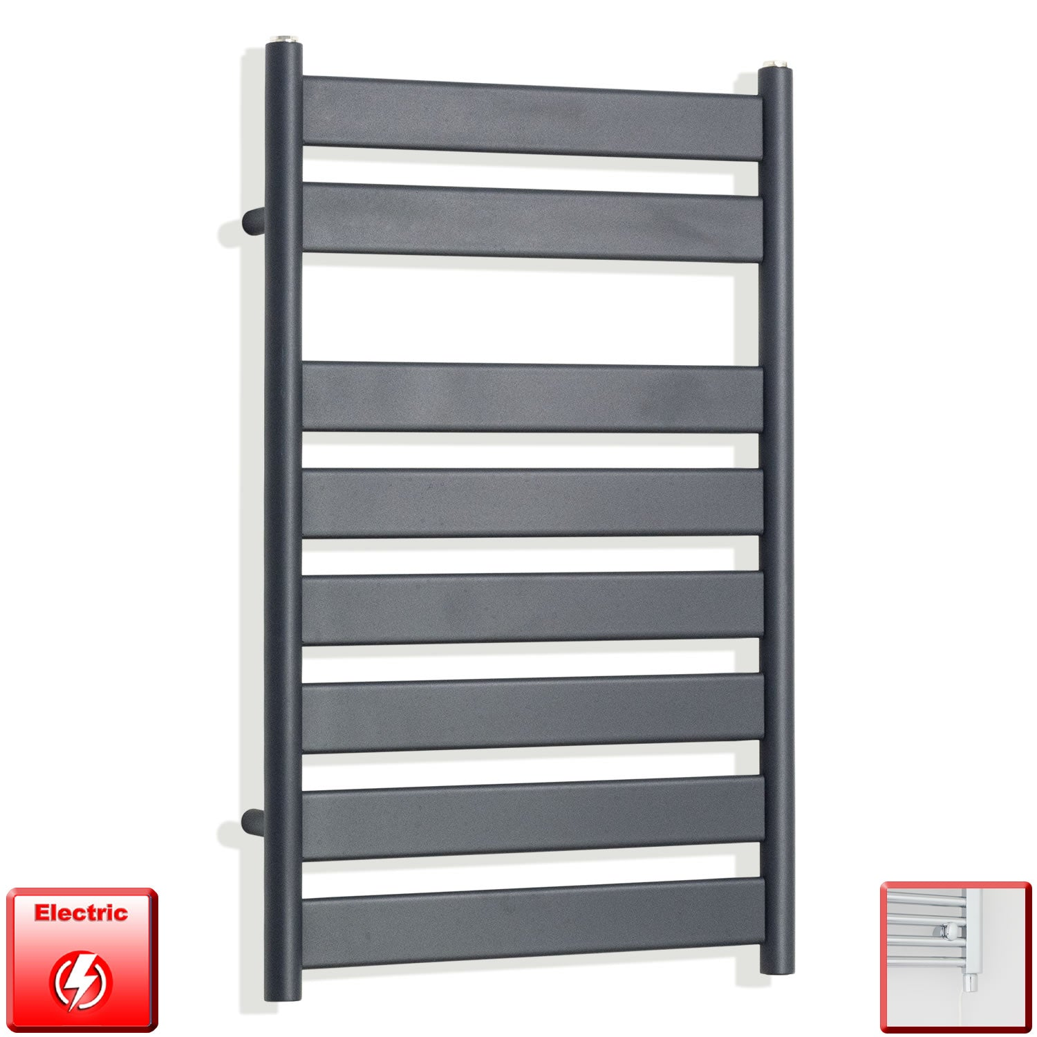 500mm Wide 800mm High Flat Panel Designer Anthracite Heated Towel Rail Radiator HTR,Electric Single Heat Element