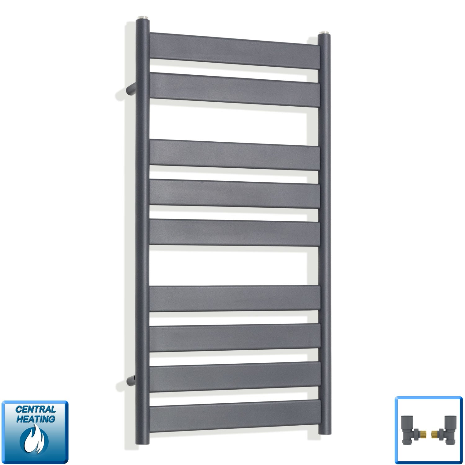 500mm Wide 950mm High Flat Panel Designer Anthracite Heated Towel Rail Radiator HTR,With Angled Valve