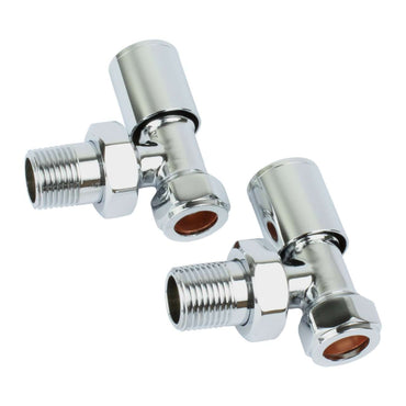 Angled Chrome Towel Rail Radiator Valve in Pair