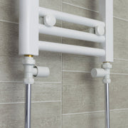 800mm Wide 400mm High Flat White Heated Towel Rail Radiator HTR