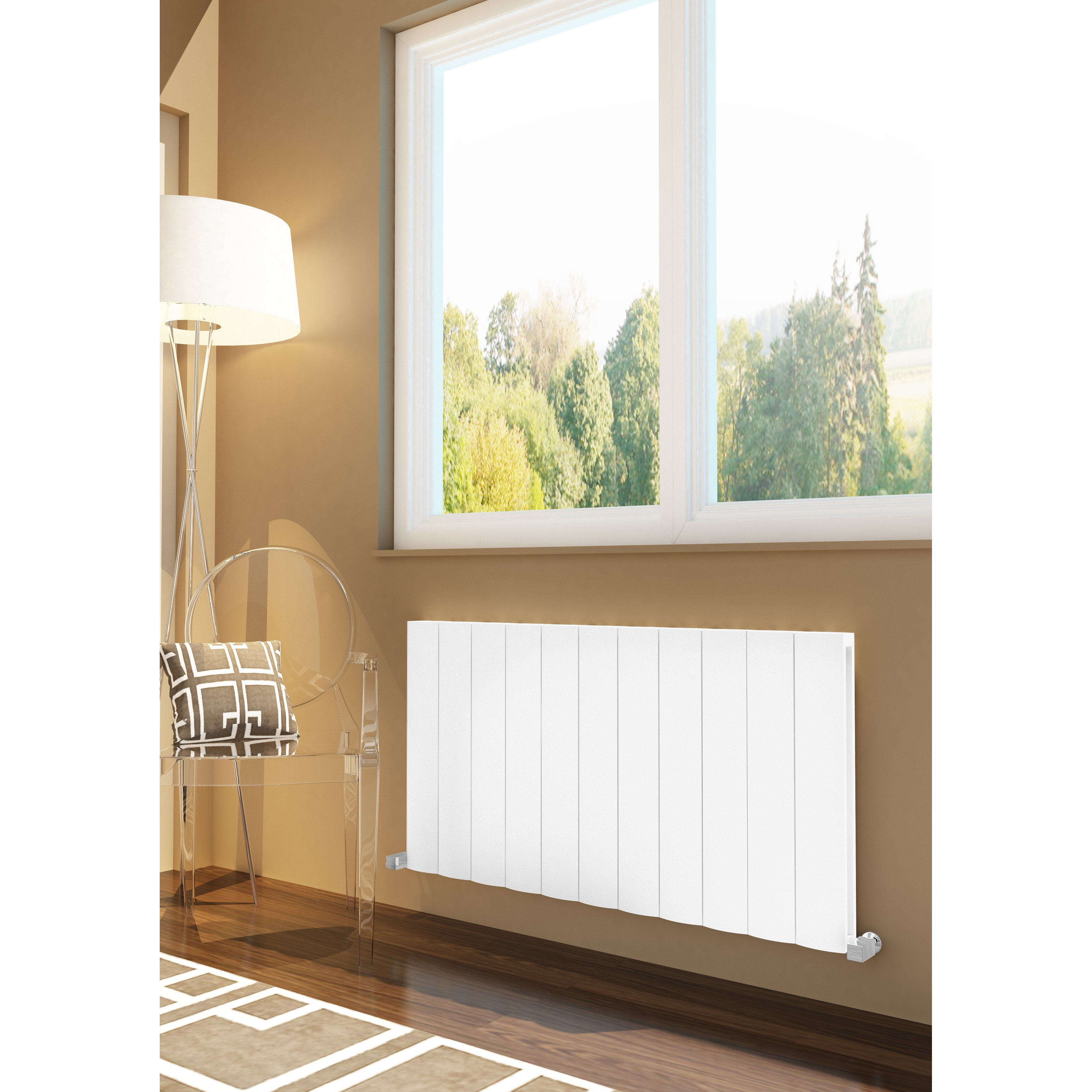 Lugo Horizontal Aluminium Radiator Heater - White & Anthracite