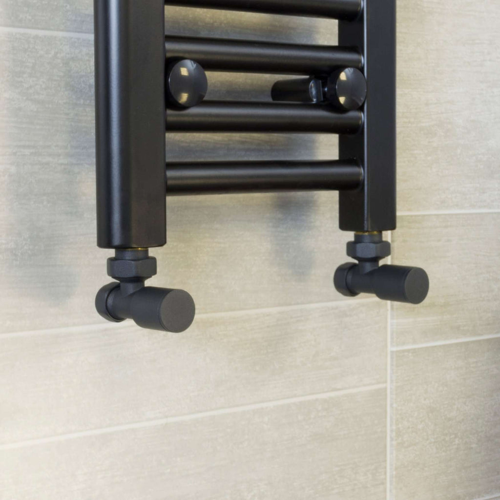 Angled Anthracite Towel Rail Radiator Valve In Pair For