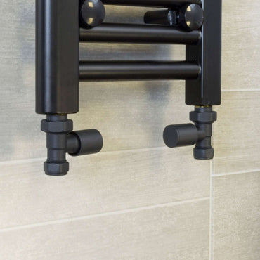 Straight Anthracite Towel Rail Radiator Valve in Pair