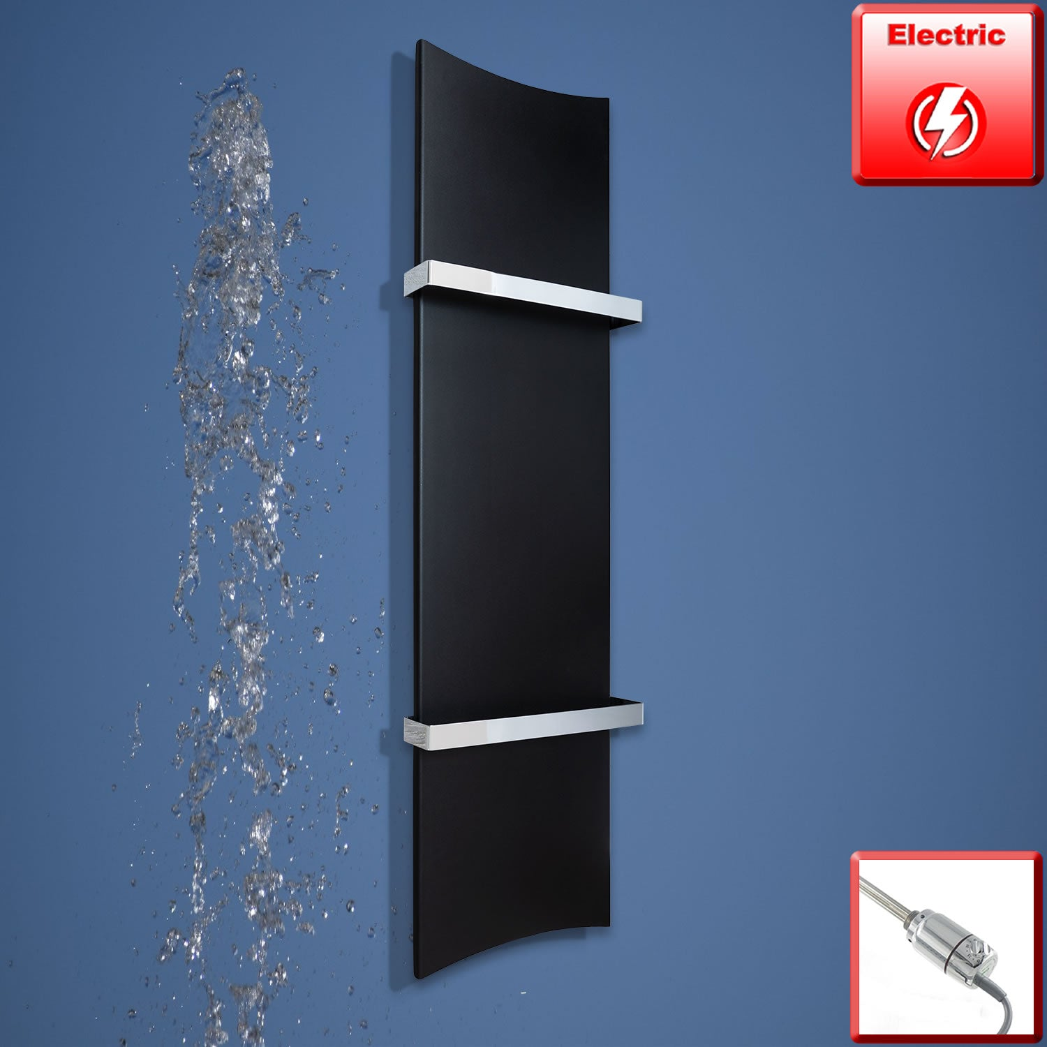 300mm Wide 1200mm High Black Designer Heated Towel Rail Radiator Bone Style,Electric with Thermostatic Element
