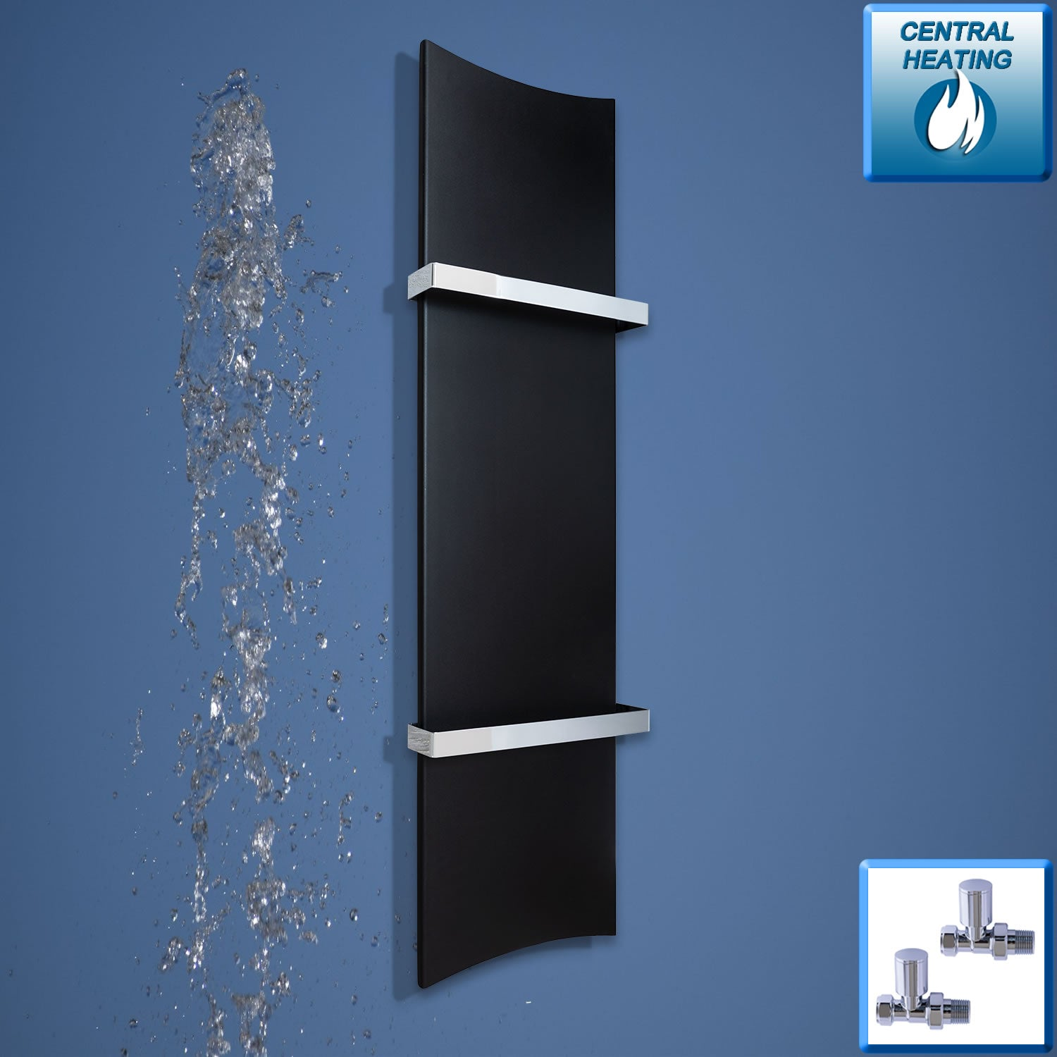 300mm Wide 1200mm High Black Designer Heated Towel Rail Radiator Bone Style,Central Heating With Straight Valves