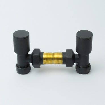 Angled Anthracite Towel Rail Radiator Valve in Pair