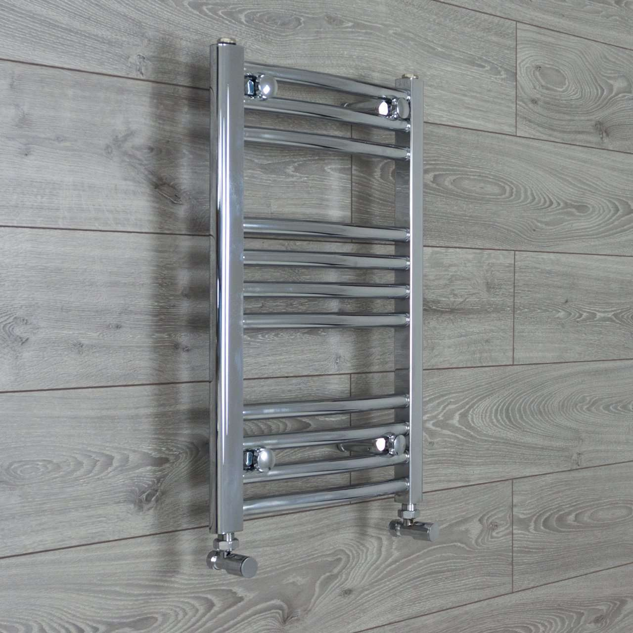 400mm Wide 600mm High Curved Chrome Heated Towel Rail Radiator HTR,With Angled Valve