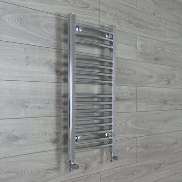 400mm Wide 800mm High Curved Chrome Heated Towel Rail Radiator HTR,With Straight Valve