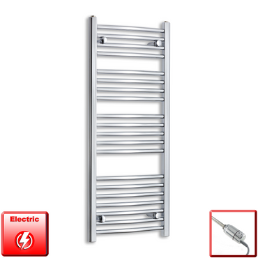 450mm Wide 1100mm High Flat Or Curved Chrome Pre-Filled Electric Heated Towel Rail Radiator HTR,GT Thermostatic / Straight