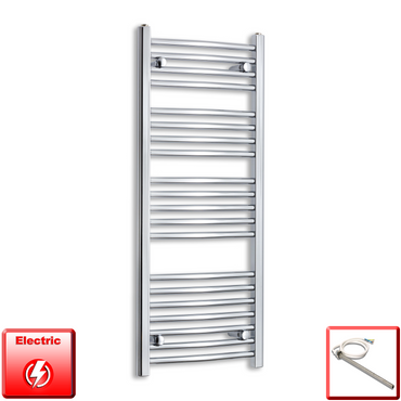 450mm Wide 1100mm High Flat Or Curved Chrome Pre-Filled Electric Heated Towel Rail Radiator HTR,Single Heat Element / Straight