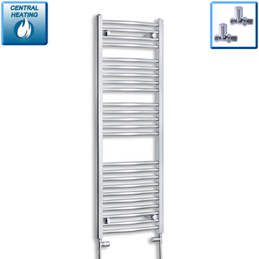 450mm Wide 1300mm High Curved Chrome Heated Towel Rail Radiator HTR,With Straight Valve