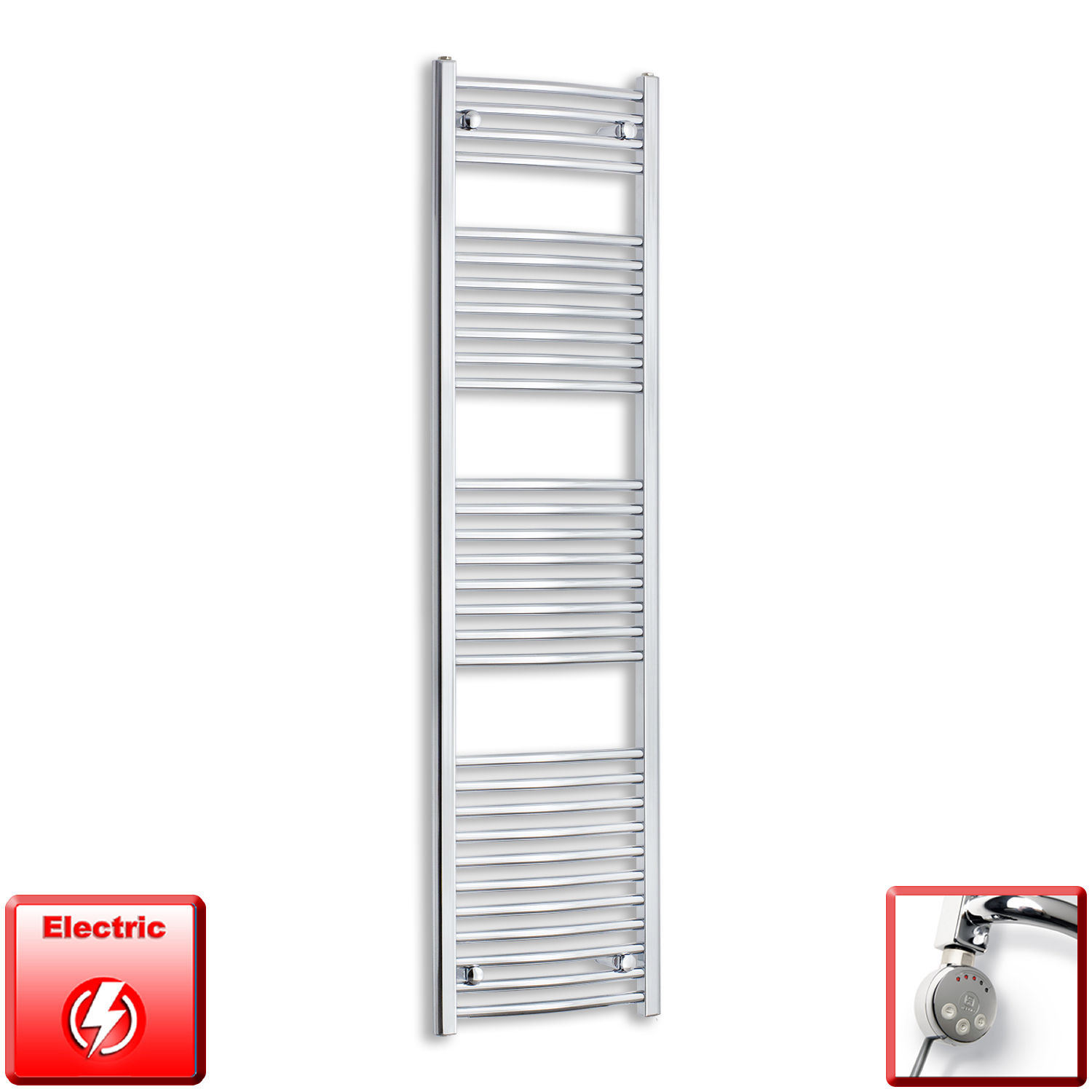 450mm Wide 1700mm High Flat Or Curved Chrome Pre-Filled Electric Heated Towel Rail Radiator HTR,MEG Thermostatic Element / Straight