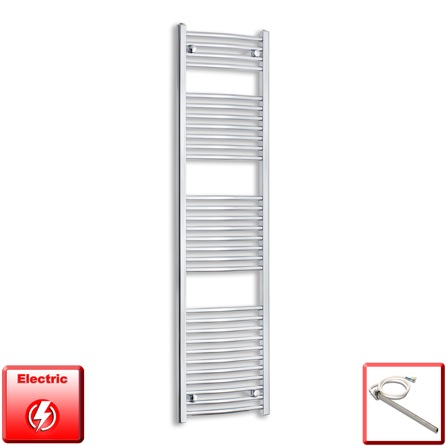 450mm Wide 1700mm High Flat Or Curved Chrome Pre-Filled Electric Heated Towel Rail Radiator HTR,Single Heat Element / Straight