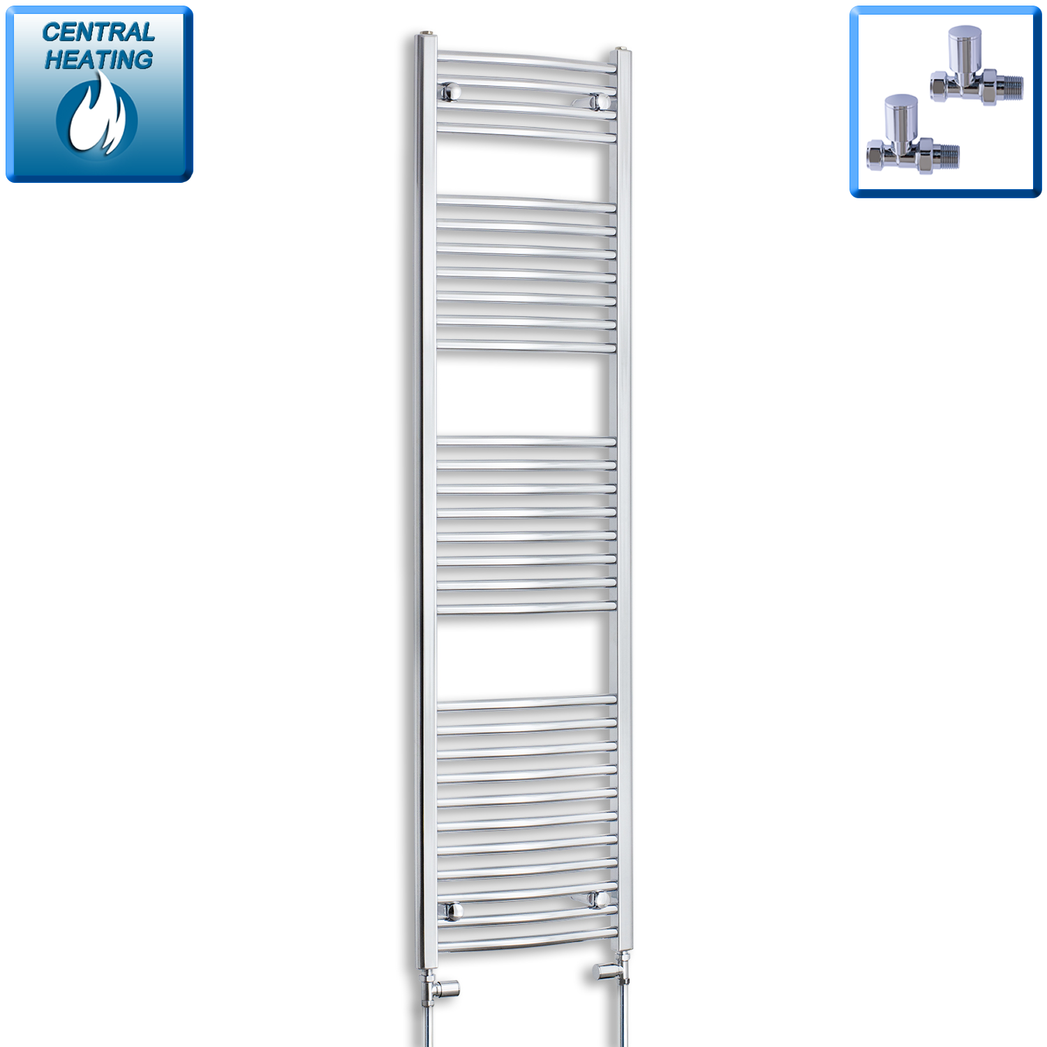 450mm Wide 1700mm High Curved Chrome Heated Towel Rail Radiator HTR,With Straight Valve