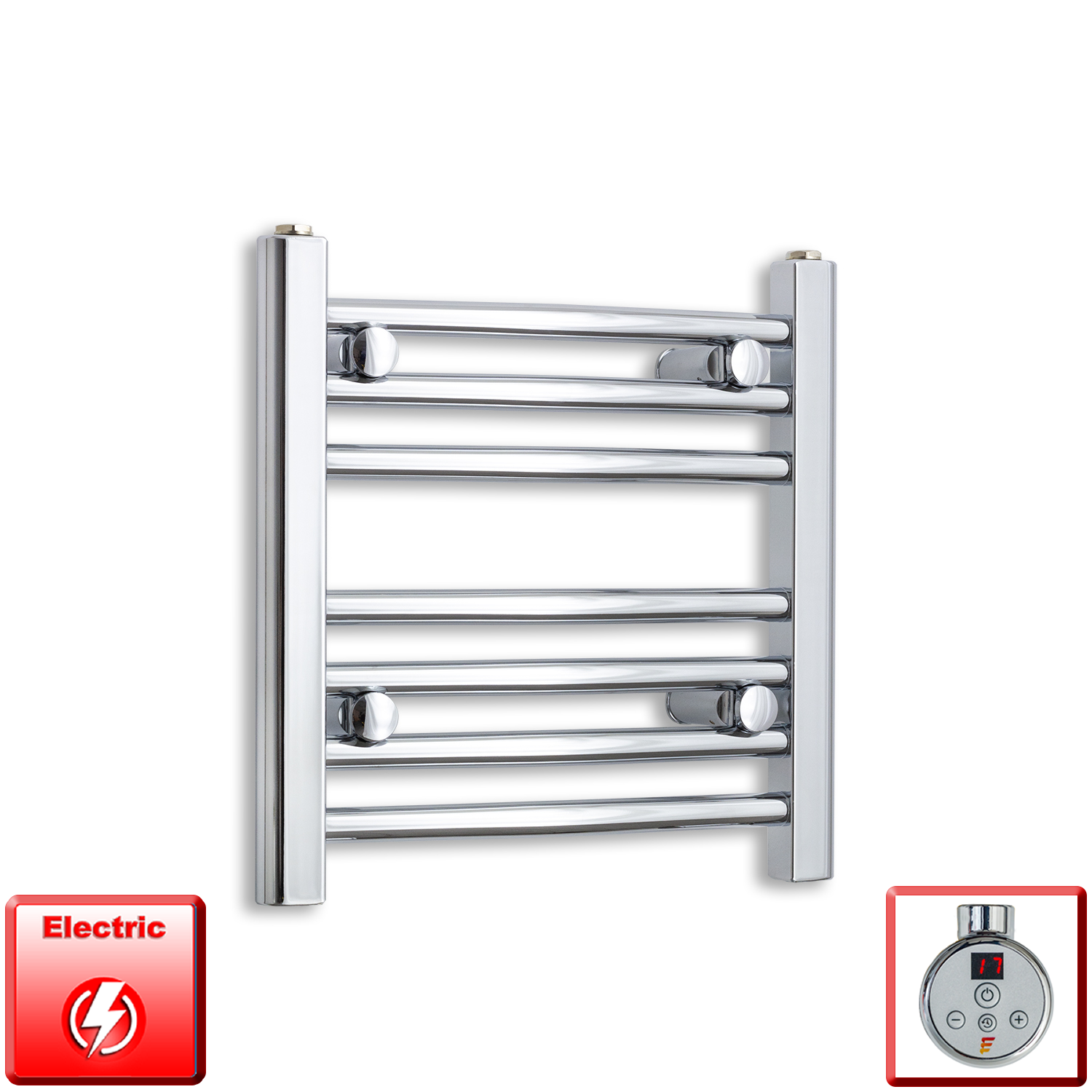 500mm Wide 400mm High Flat Or Curved Chrome Pre-Filled Electric Heated Towel Rail Radiator HTR
