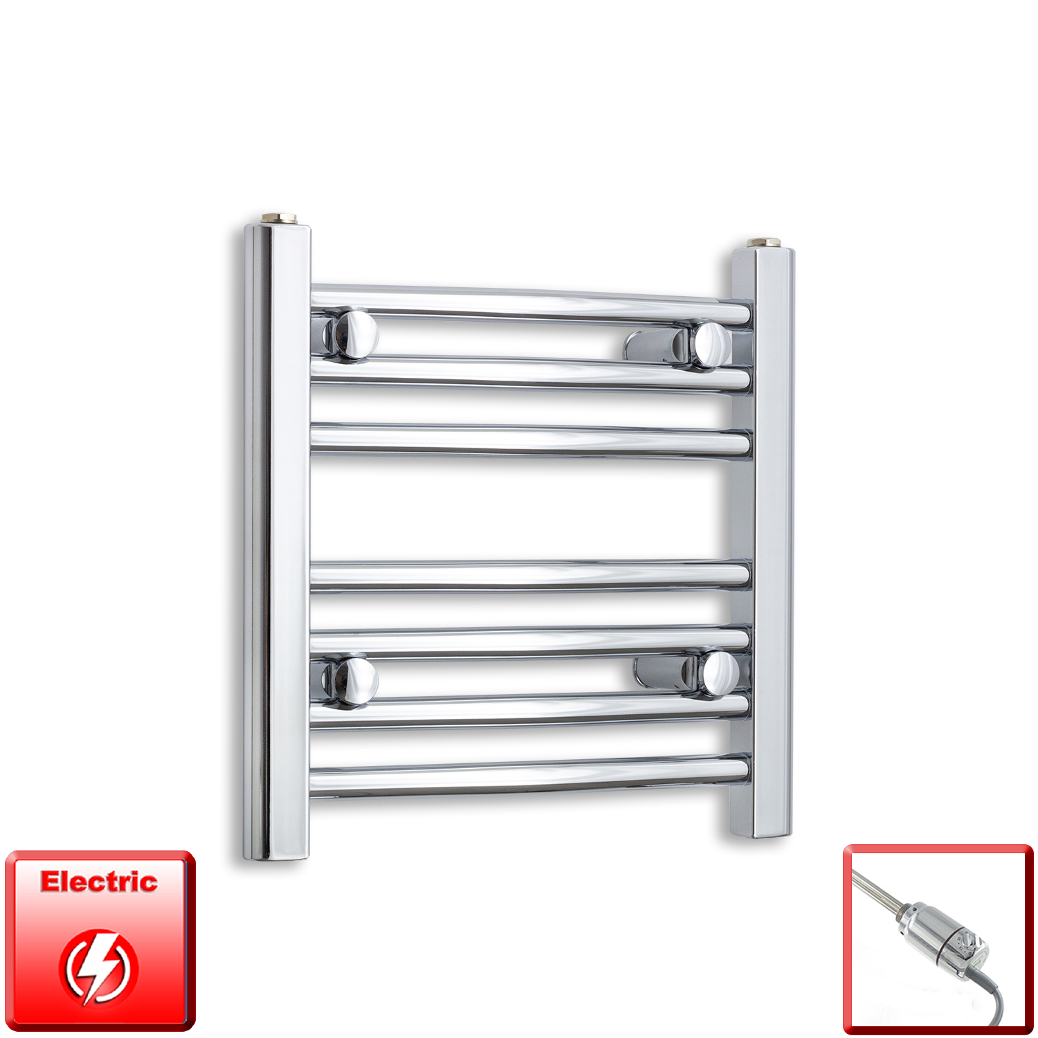 500mm Wide 400mm High Flat Or Curved Chrome Pre-Filled Electric Heated Towel Rail Radiator HTR,GT Thermostatic / Straight