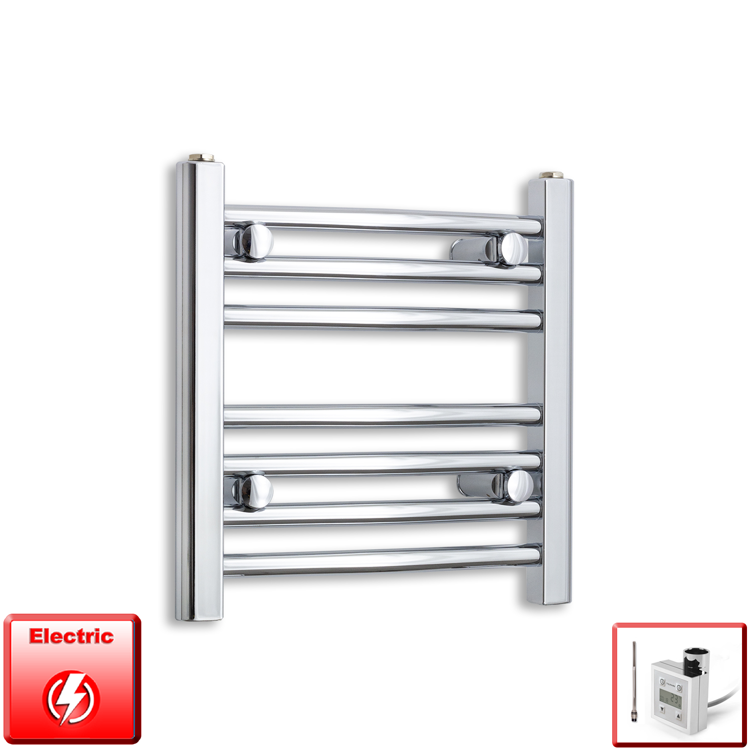 500mm Wide 400mm High Flat Or Curved Chrome Pre-Filled Electric Heated Towel Rail Radiator HTR,KTX-3 Thermostatic Element / Straight