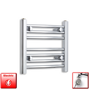 500mm Wide 400mm High Flat Or Curved Chrome Pre-Filled Electric Heated Towel Rail Radiator HTR,MEG Thermostatic Element / Straight