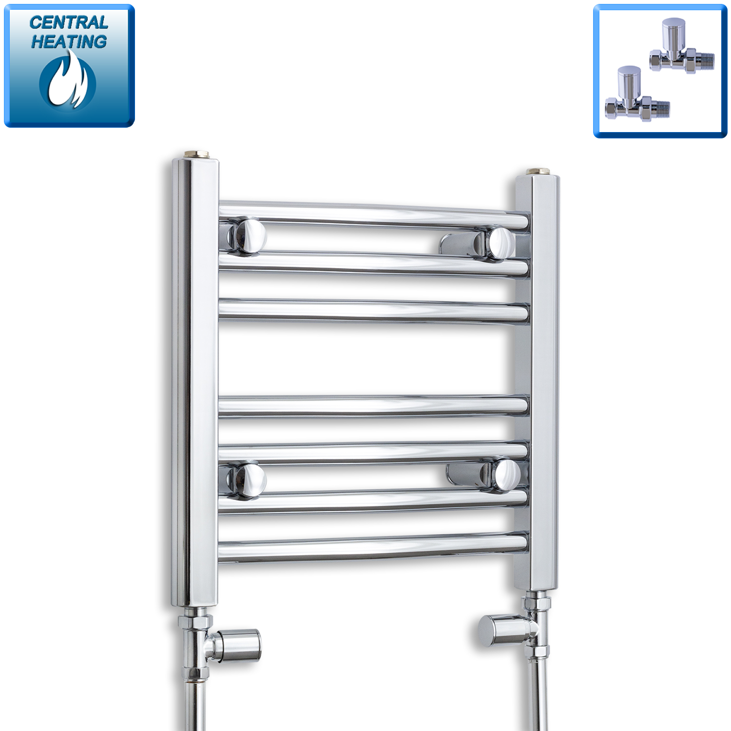 500mm Wide 400mm High Flat Chrome Heated Towel Rail Radiator HTR,With Straight Valve