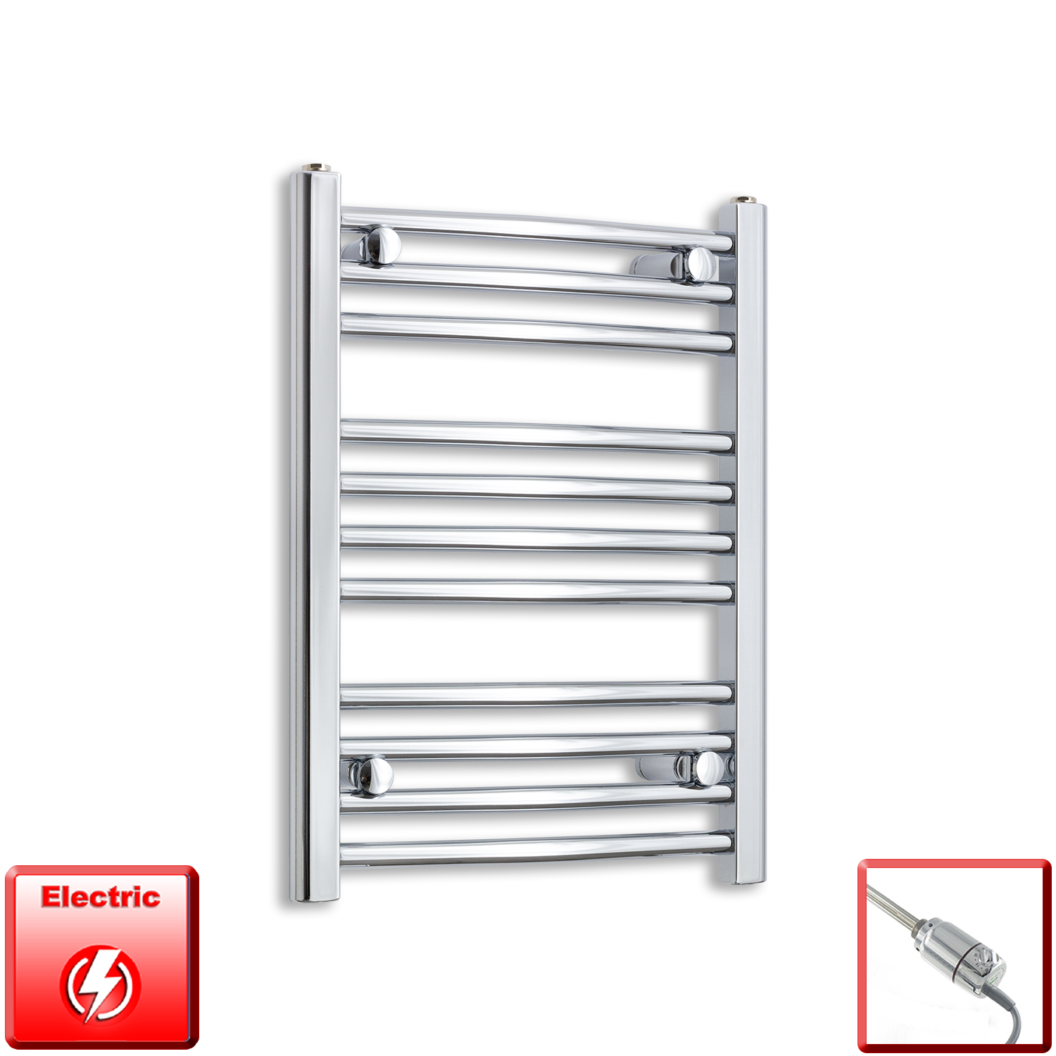 500mm Wide 600mm High Flat Or Curved Chrome Pre-Filled Electric Heated Towel Rail Radiator HTR,GT Thermostatic / Straight