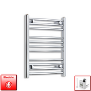 500mm Wide 600mm High Flat Or Curved Chrome Pre-Filled Electric Heated Towel Rail Radiator HTR,KTX-3 Thermostatic Element / Straight