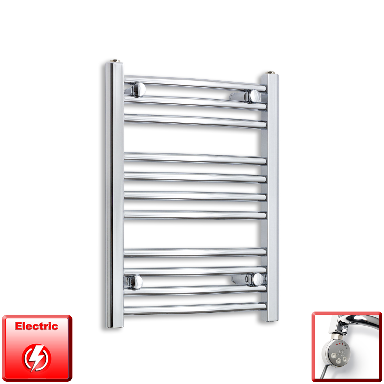 500mm Wide 600mm High Flat Or Curved Chrome Pre-Filled Electric Heated Towel Rail Radiator HTR,MEG Thermostatic Element / Straight