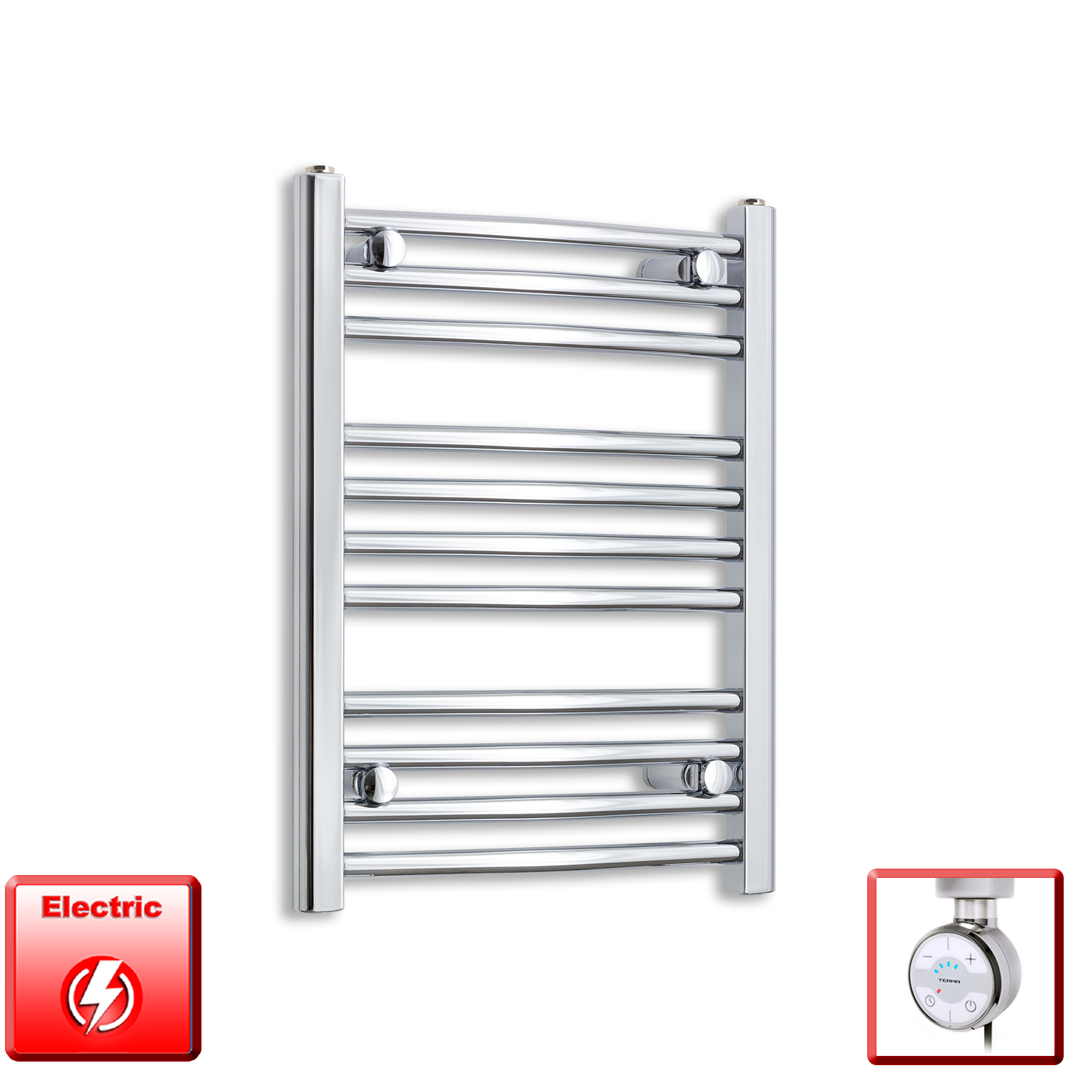 500mm Wide 600mm High Flat Or Curved Chrome Pre-Filled Electric Heated Towel Rail Radiator HTR,MOA Thermostatic Element / Straight