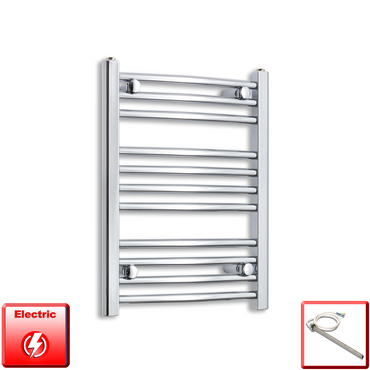 450mm Wide 600mm High Flat Or Curved Chrome Pre-Filled Electric Heated Towel Rail Radiator HTR,Single Heat Element / Straight