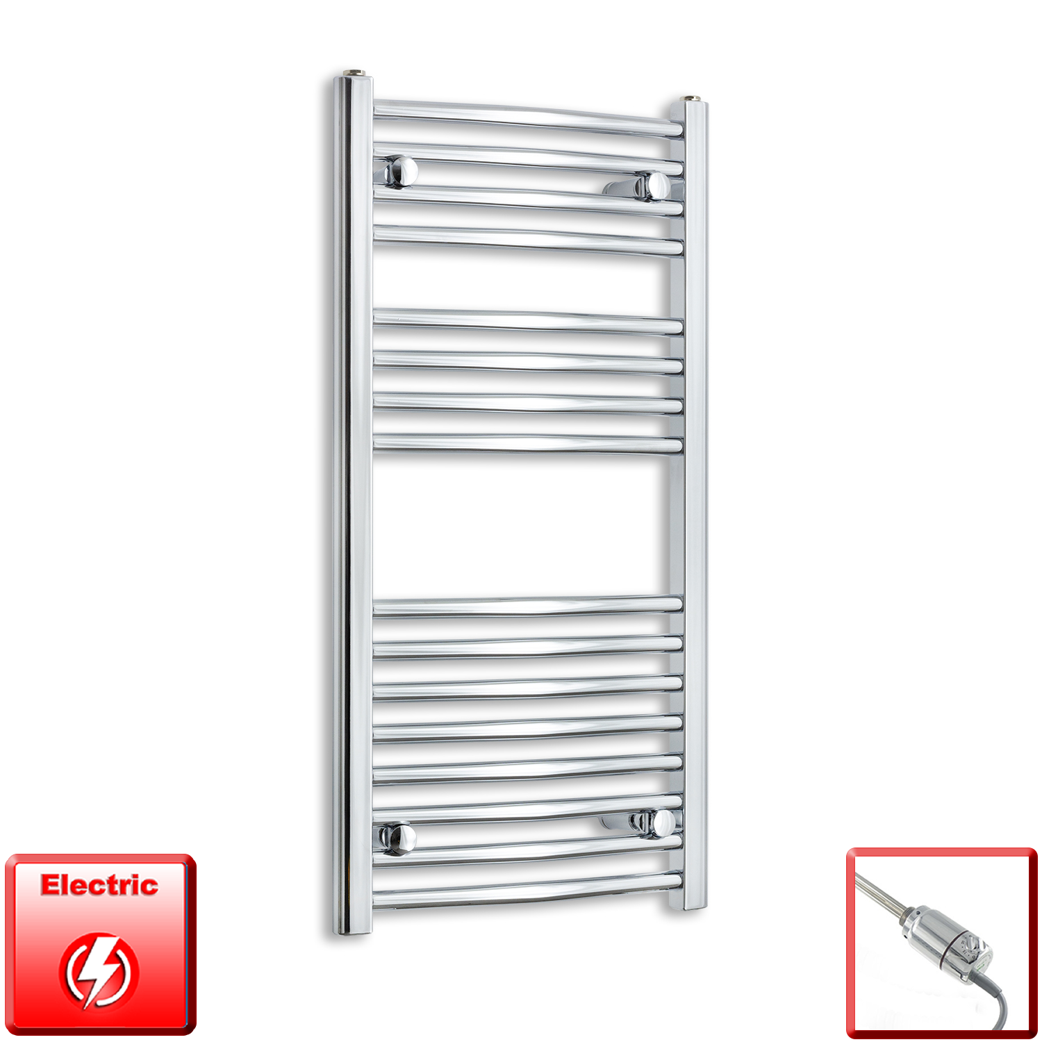 450mm Wide 900mm High Flat Or Curved Chrome Pre-Filled Electric Heated Towel Rail Radiator HTR,GT Thermostatic / Straight