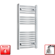450mm Wide 900mm High Flat Or Curved Chrome Pre-Filled Electric Heated Towel Rail Radiator HTR,MEG Thermostatic Element / Straight