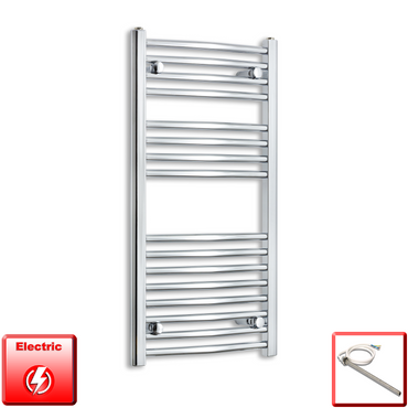450mm Wide 900mm High Flat Or Curved Chrome Pre-Filled Electric Heated Towel Rail Radiator HTR,Single Heat Element / Straight