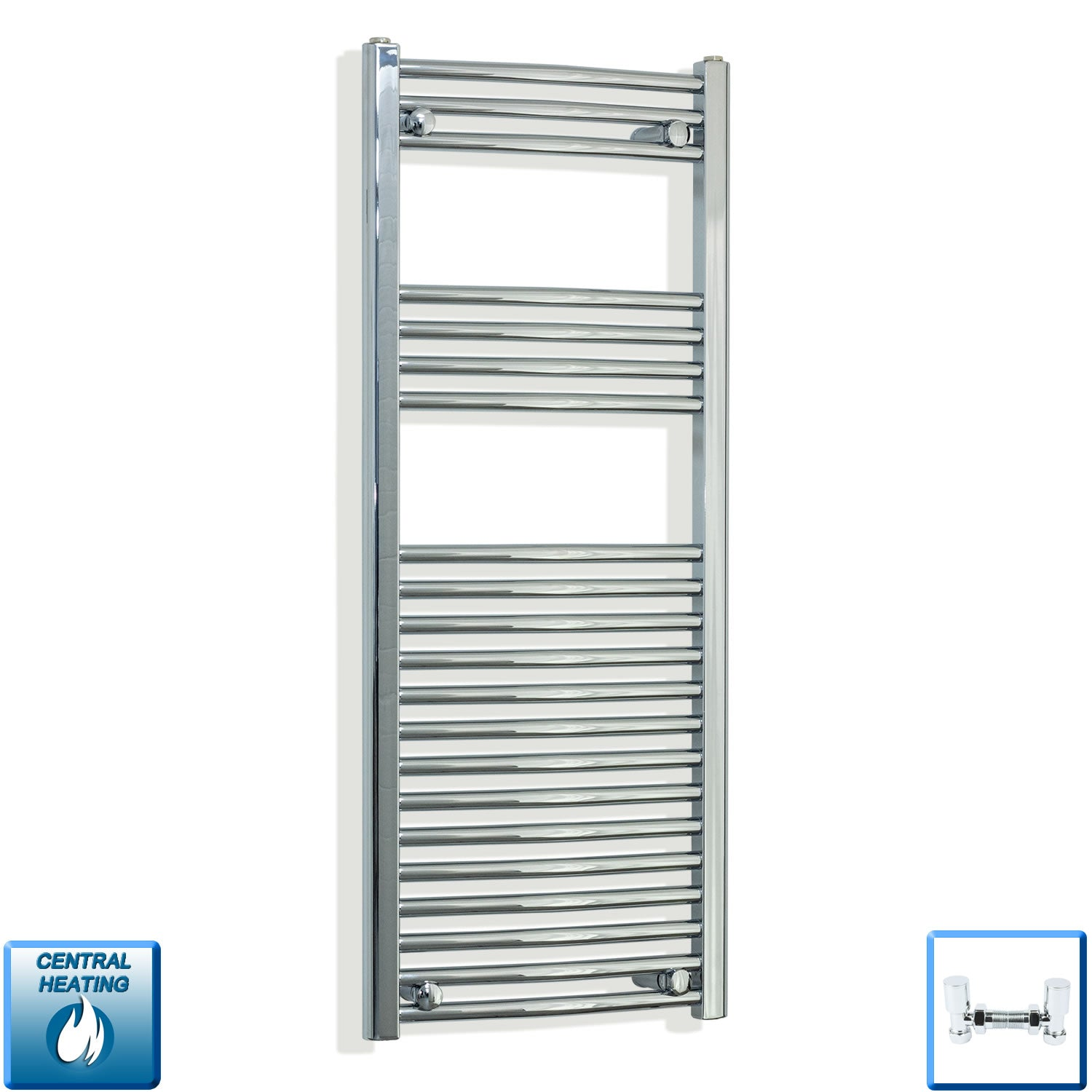 450mm Wide 1100mm High Curved Chrome Heated Towel Rail Radiator HTR,With Angled Valve