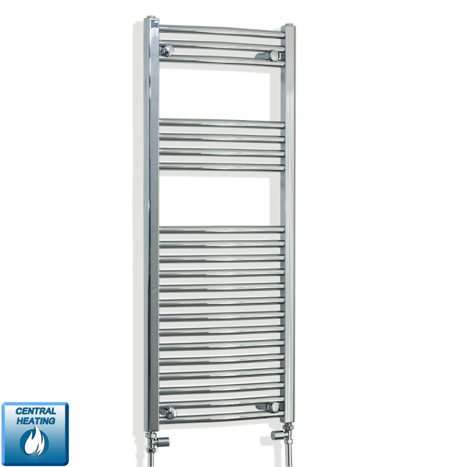 450mm Wide 1100mm High Curved Chrome Heated Towel Rail Radiator HTR,With Straight Valve